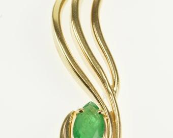 14k Marquise Emerald Inset Wavy Curvy Pendant Gold