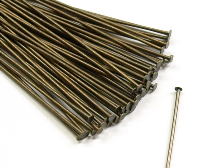 Head Pin, 2 in/21 ga, Antique Brass - 50 Pieces (HPBAB-5021)