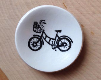 Bicycle Ring dish, mini ring dish,  gift for her, Mother's Day gift, bicycle lover, engagement ring dish, gift for women