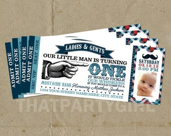 12 Little Man Birthday Party Ticket Style Invitations