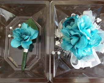 Wrist Corsage Turquoise Blue Wrist Corsage and Matching Boutonniere Artificial Flowers  Ready To Ship.