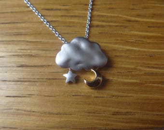 Autumn cloud, Star and moon gold and Silver: necklace