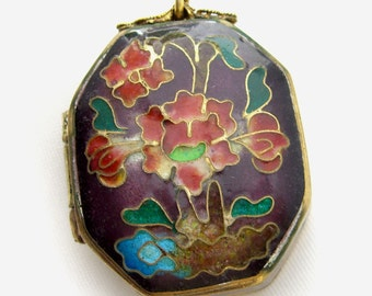 Vintage Cloisonne Enamel Trinket Box Asian Import Ring Box with Orchids Design