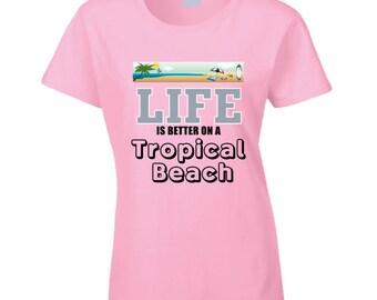 Black Tropica Beach T Shirt