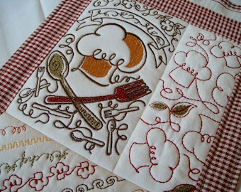 quilted wall hanging mini wall quilt french chef wall quilt embroidered mini quilt kitchen wall decor sampler quilt