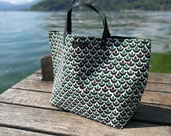 Gypsy tote bag - Green, white and black