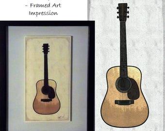 "Martin Guitar - Framed Art Impression 12"" x 15"""