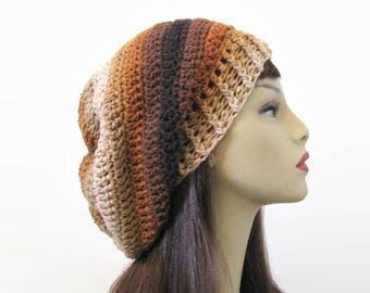 Brown Slouch Hat Dark Brown Beanie Brown Striped Crochet Slouchy Hat Brown Slouch knit Tam Slouchy Brown Beanie Dark Brown Hat Slouch Beanie