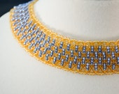 Blue Gold Beaded Collar N...