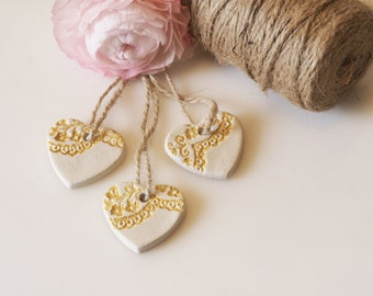 Clay wedding favors - Set 3 heart wedding decor - Country wedding favors with lace pattern - Gold heart Christmas decoration - Clay gift tag