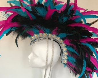 Pink and electric blue statement feather mohawk, feather headdress, burning man headdress, burner style feather headdress, feather mohawk