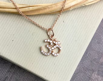 Rose gold vermeil om necklace, ohm aum charm, yoga, namaste, mindfulness, minimalist, everyday jewelry N392