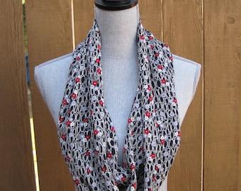 Fabric scarf,  infinity scarf, tube scarf, eternity scarf, loop scarf, long scarf, in black print