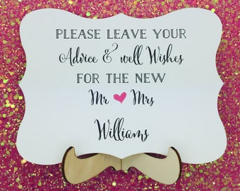 Wedding Guest Book Sign - Leave Your Advice Sign, Personolised