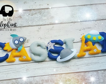 Outer Space Felt Name Garland, space theme name banner, nursery wall hanging, space nursery decor, boys room decor, personalised banner