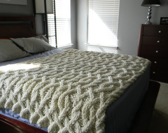 Cable Me Crazy Chunky Cable Knit Blanket - Made to order