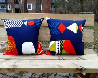 Pillow cover made from Marimekko fabric Toteemi, throw pillow or cushion cover sham, Scandinavian modern, blue accent pillow, set of 2