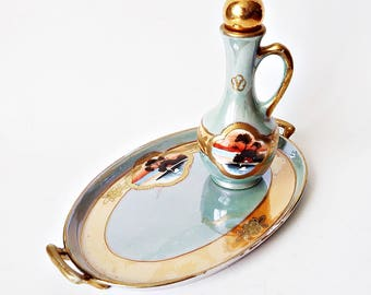 Vintage Japanese Chikaramachi Lusterware Hand Painted Vanity Tray and Perfume Bottle/ Boudoir Decor/ Vanity Table Accessories