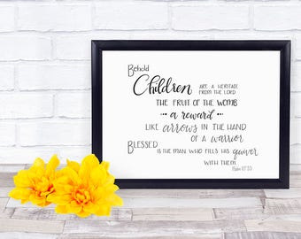 Children are like arrows print, Psalm 127 printable, Christian parent, digital download