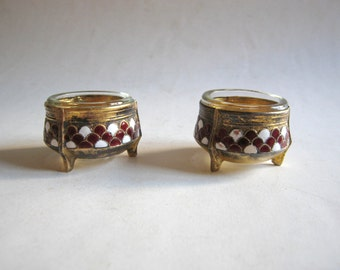 vintage enamel gold plated salt and pepper cellars, Siommet, Russia