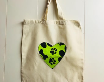 Handmade Cotton Shopping Bag with Applique Heart - Paw Prints Shopping Bag