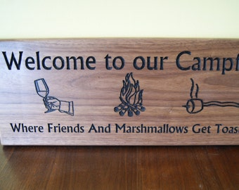 Custom plaque - Welcome to our Campfire
