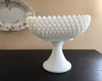 Smith Vintage Milk Glass Diamond Pedestal Compote / Candy Dish