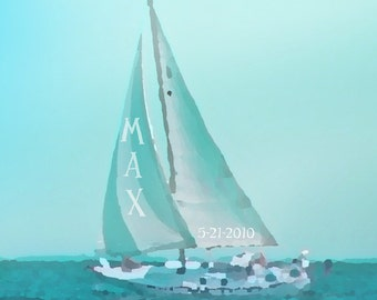 Sailboat Nursery Art Personalized Custom Name Art Print - Nautical Blue Aqua Baby Children Ocean Photograph