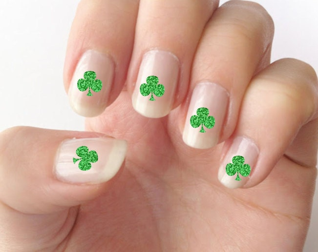 Nail decals, St. Patrick\'s day nails, shamrock nail decals, nail art ...