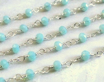 Aqua Jade Rosary Chain, Silver Plated Wire Wrapped Rosary Chain, Aqua Jade Silver Rosary Chain, 4 mm, Sold By Foot (JAD-0194)