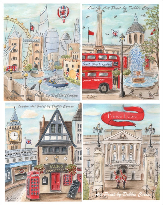 London prints nursery art personalized boy baby shower gift negle