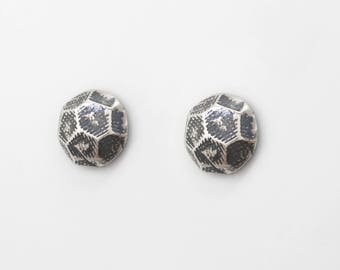 Hardware Sterling Silver Stud Earrings for Men and Women. Handmade Nail Earrings. Hardware Jewelry. Faceted Domed Decorative Nail Head.