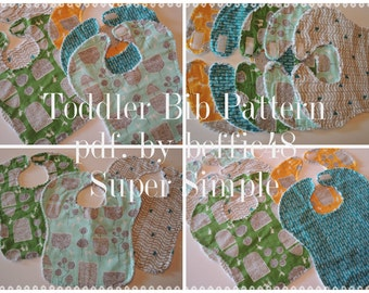 Super Simple Toddler Bib Pattern, Instant Download, pdf