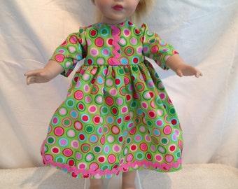"Green polkadot dress for 18"" doll"