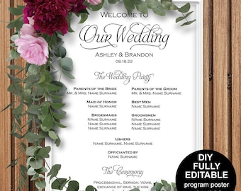 Wedding program poster, Wedding program sign, Wedding ceremony poster, Wedding poster, DIY, Printable, Template, Instantly download,