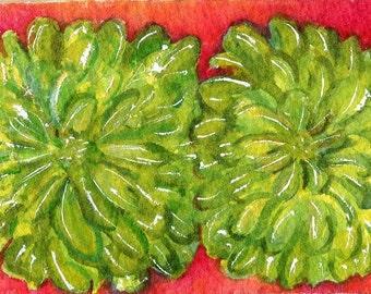 ACEO Original Zinnias watercolors paintings original, lime green zinnias art card painting,  watercolor flowers, floral painting, floral art