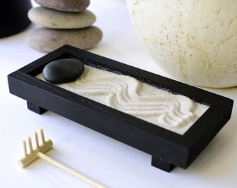 Zen garden, gift for her, zen garden kit, desktop zen garden, play therapy, sand box, meditation box, mini sand garden, desktop garden,