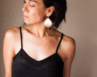 """Eye-catching dangle copper earrings with a hammered bubble pattern texture on a sleek teardrop shape - """"Large Juno Earrings - Copper"""""""