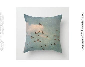 Birds Flying Blue Sky Clouds Flock of Birds Silhouette Pillow Cover Bird Silhouette Pillow Cover Blue Sky Clouds Throw Pillow Cover