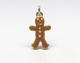 GINGERBREAD MAN, Christmas Gift, Sterling Silver, Charms, Enamel Charms, Birthday Gift, Bakery, Baking, Gift for Bakers, Gift for Her, Wife