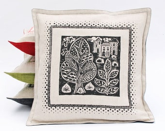 Black Square Print Pillow Cover/Woodland Print linen pillow / Screen Printed cushion cover