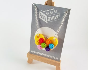 LEGO®  bright rainbow colour necklace  - silver plated - geek necklace