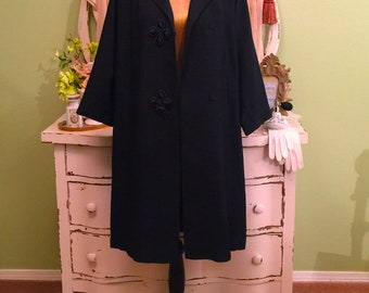 Classy Black Silk Taffeta Evening Swing Coat  L-XL Hollywood Glam Formal Coat w Bracelet Sleeves Black Opera Coat
