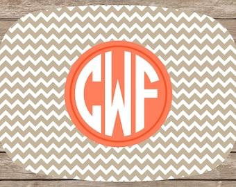Personalized Chevron Melamine Platter With Monogram