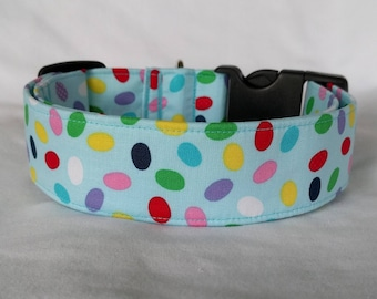 Tossed Easter Eggs on Blue-Choose Buckle or Martingale Dog Collar-Small-Large Breed Dog-5/8-1 inch 1.5 -2 inch width-Traffic-Dog Leash