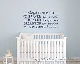 Always remember you are braver Winnie the Pooh quote Always remember you are quote vinyl wall decal