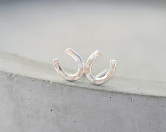 Tiny Horseshoe Stud, Equestrian Chic, Hammered Shoes, Eco Friendly Sterling Silver, Cute Earrings, Gift for Horse Lover