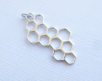 Sterling Silver Honeycomb Charm -- 1 Piece -- Bee Hive Pendant