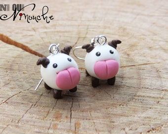 Earrings (fimo) poro League of Legends love geeky little poro white and pink large language Christmas gift idea original gamer