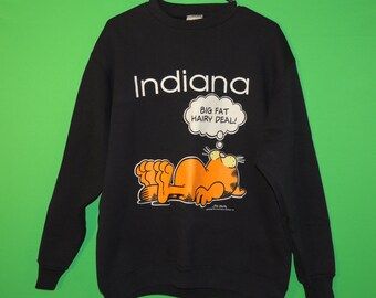 "VTG 1978 Garfield Indiana ""Big Fat Hairy Deal!"" Men's Size L Large Tultex Black Sweater / Sweatshirt"